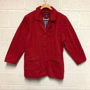 DENIM & CO. Classic Red pea coat jacket po…